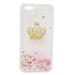 Transparent Dynamic Liquid Glitter Hourglass Crown Pink Case iPhone 6