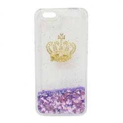 Transparent Liquid Glitter Hourglass Crown Purple Case iPhone 6
