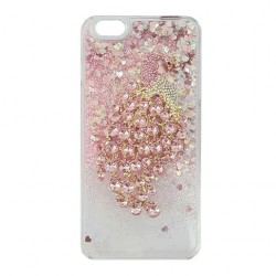 Peacock Rhinestone Dynamic Liquid Protective Case For iPhone Pink