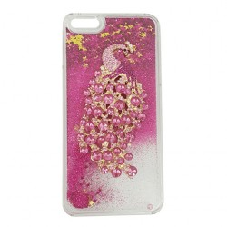 Peacock Rhinestone Dynamic Liquid Protective Case For iPhone Red
