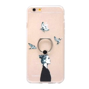 Sketchy Girl And Birds Plastic Mobile Cover With Ring