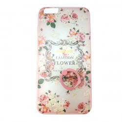 New Cute Girl Floral Pink Mobile Cover With Ring