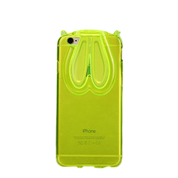 iPhone 6 and 6S Cute Bunny Ears Transparent Case Cover Green