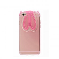 iPhone 6 and 6S Cute Bunny Ears Transparent Case Cover Pink