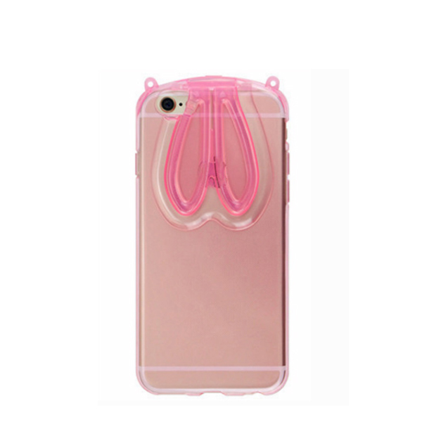 Cute Bunny Ears Transparent Case Cover For Samsung Galaxy S7 Pink