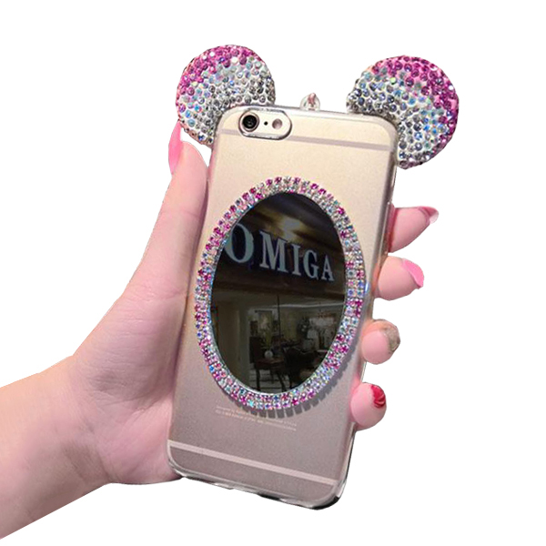 Glitter Makeup Mirror Mickey Mouse Ears Diamond  Case For IPhone Pink