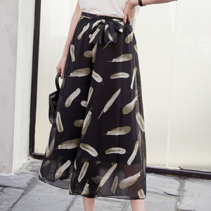 Feathers Printed Loose Wear Palazzo Trousers
