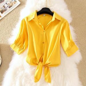 Shirt Collar Knotted Button Up Summer Special Outwear Shirt - Yellow