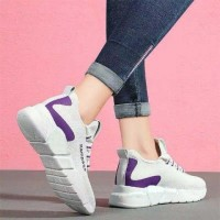 Laced Up Canvas Mesh Style Soft Sneakers - White
