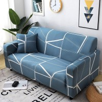 Printed Geometric Magic Sofa Cover With Cushion Cover Set