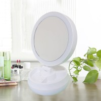 Rotatable Round Shape Makeup Mirror With Led Light - White