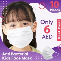 Protective White Air Filter Anti Bacterial Kids Face Mask - 10 Pieces