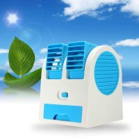 Mini Portable Desktop Dual Bladeless Usb Cooling Fan - Blue