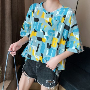 Alphabetic Printed Colorful Loose T-Shirt - Blue