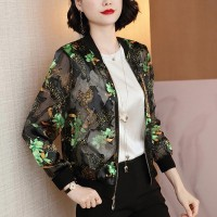 Thin Fabric Floral Pattern Full Sleeved Outwear Summer Jacket