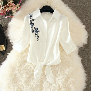 Shirt Collar Knotted Button Up Summer Special Outwear Shirt - White