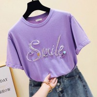 Round Neck Smile Prints Casual Summer T-Shirt - Purple