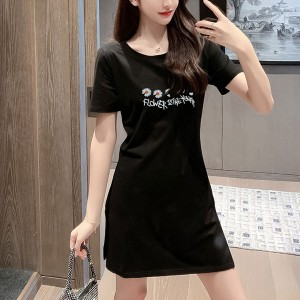 Short Sleeved Floral Printed Mini Summer Dress - Black