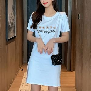 Short Sleeved Floral Printed Mini Summer Dress - Blue