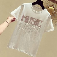 Round Neck Pearl Decorative Party Wear T-Shirt - White