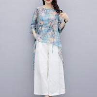 Slash Hem Digital Prints Loose Bottom Dress - Blue