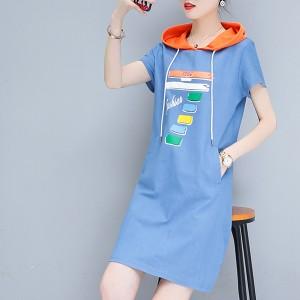 Fashion Wear Hoodie Printed Mini Dress - Blue