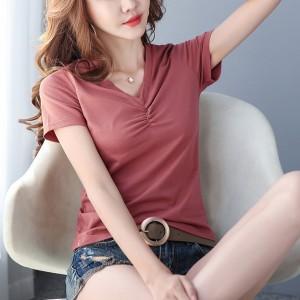 V Neck Short Sleeved Solid Color T-Shirt - Pink