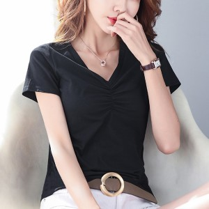 V Neck Short Sleeved Solid Color T-Shirt - Black