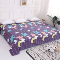 Star Moon Prints Wide Size Bedsheet - Purple