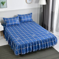 Square Prints High Quality Bed Sheet With Two Pillow Covers - Blue