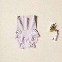 High Waist Lace Floral Texture Women Briefs Underwear - Light Purple