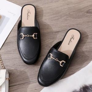 Slip Over Plain Casual Wear Flat Shoes - Black