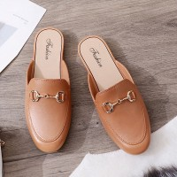 Slip Over Plain Casual Wear Flat Shoes - Brown