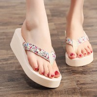 Floral Strapped Casual Wear Slippers Flip Flips - White
