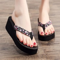 Floral Strapped Casual Wear Slippers Flop Flips - Black