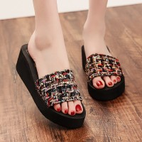 Mesh Thread Art Thick Bottom Casual Slippers Sandals - Black