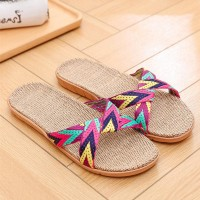 Canvas Cross Strapped Flat Wear Casual Slippers - Multicolor