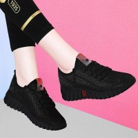 Mesh Hollow Laced Up Casual Sneakers - Black