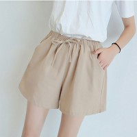Elastic Waist String Closure Women Fashion Shorts - Khaki