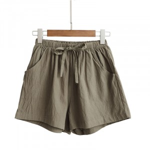 Elastic Waist String Closure Women Fashion Shorts - Green