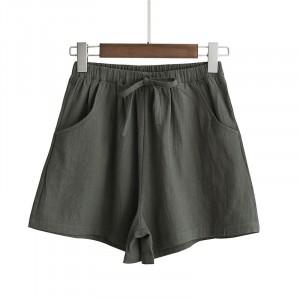 Elastic Waist String Closure Women Fashion Shorts - Dark Gray