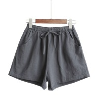 Elastic Waist String Closure Women Fashion Shorts - Gray