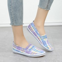 Check Prints Slip Over Flat Casual Shoes - Purple