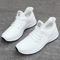 Mesh Rubber Sole Canvas Sports Sneakers - White