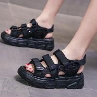 Thick Sole Velcro Closure Sports Women Sandals - Black
