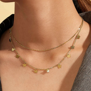 Butterfly Choker Double Layer Necklace For Women - Golden
