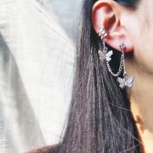 Crystal Butterfly Alloy Clip Earrings For Women - Silver