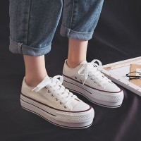 Spring Canvas Thick Sole Lace Up Student Wear Sneakers - White