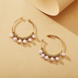 Pearl Rhinestones Earring For Women - Golden