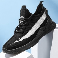 Rubber Sole Mesh Breathable Laced Up Sneakers - Black